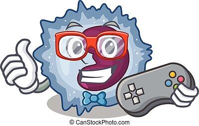 Smiley gamer monocyte cell cartoon mascot style. Vector ...