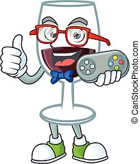 Smiley gamer red glass of wine cartoon mascot style