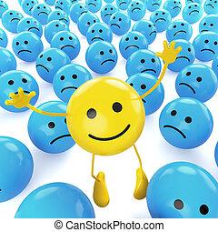 smiley, gele, verdrietige , springt, tussen, blues