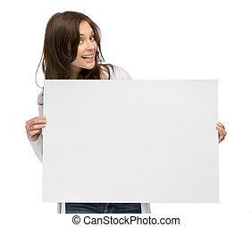 Smiley girl holding copyspace - Half-length portrait of...