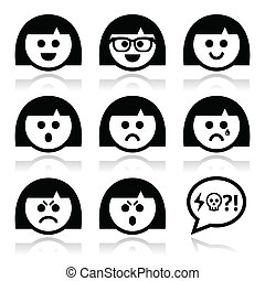 Collection of female faces - happy, sad, angry isolated on white
