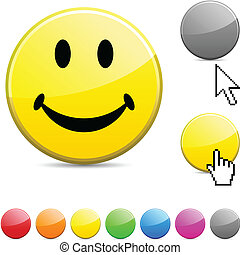 Smiley glossy button.