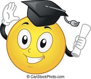Smiley Graduation Cap Diploma - Mascot Illustration of a...