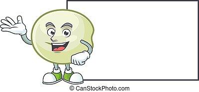 Smiley green hoppang with whiteboard cartoon character design