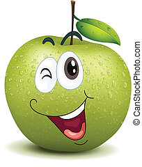 smiley, guiñar, manzana