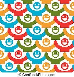 smiley, háttér, színes, emberek, pozitív, folyamatos, seamless, érzelmek, feláll, -eik, vektor, hatalom kezezés, faces., backdrop.