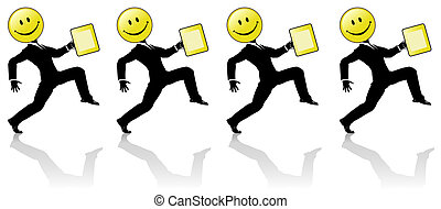 smiley, hög, steg, affärsfolk, lag, dans