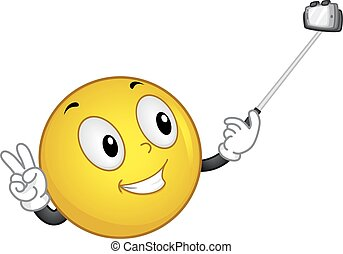 Smiley Handling Selfie Stick - Mascot Illustration of a...