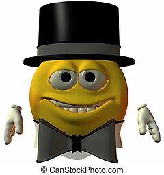 smiley-hat, y, corbata
