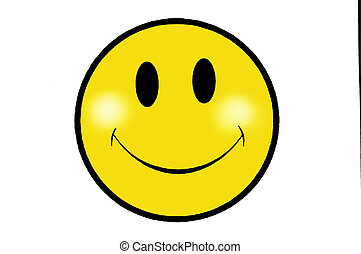 Smile yellow face on white background