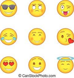 Smiley icons set, cartoon style