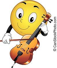 smiley, ilustracja, maskotka, wiolonczela