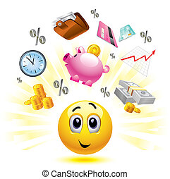 smiley - Smiley ball with different symbols of money and...