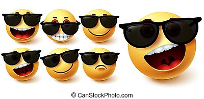 Smiley in sunglasses vector set. Smileys emoji character wearing glasses with different facial expression