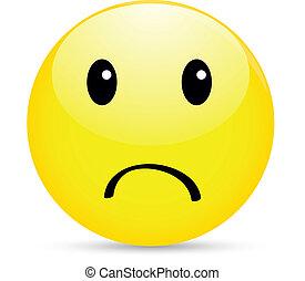 smiley, infeliz, icono