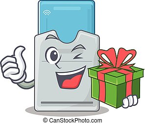 Smiley key card character with gift box