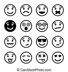 smiley, komplet, ns, twarze
