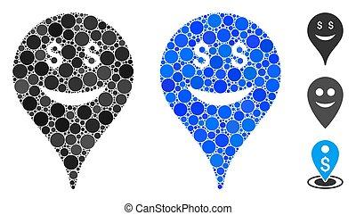 smiley, komposition, ikon, firma, kort, marker, prikker, omkring