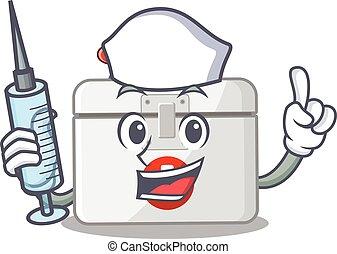 smiley, krankenschwester, hilfe, zeichen, spritze, zuerst, karikatur, satz