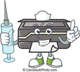 smiley, krankenschwester, spritze, zeichen, drucker, karikatur