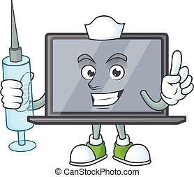 smiley, krankenschwester, spritze, zeichen, karikatur, monitor
