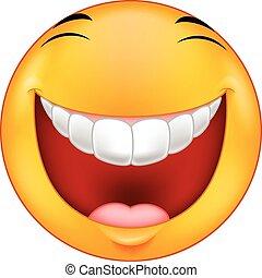 smiley, lachen, spotprent