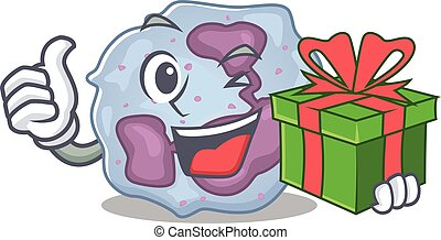 Smiley leukocyte cell character with gift box. Vector ...