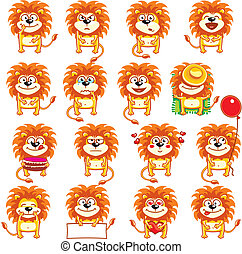 smiley lions individually grouped for easy copy-n-paste