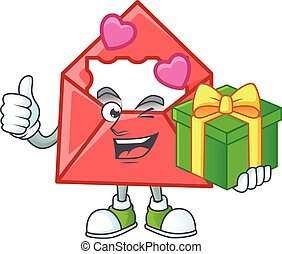 Smiley love letter character with gift box