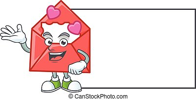 Smiley love letter with whiteboard cartoon character design