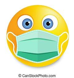 smiley, médico, máscara rosto