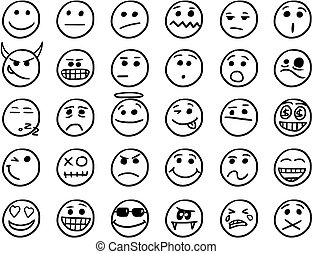 Set01 couleur smiley jaune main vecteur dessins - Smiley noir et blanc ...
