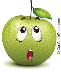 smiley, manzana, perplejo