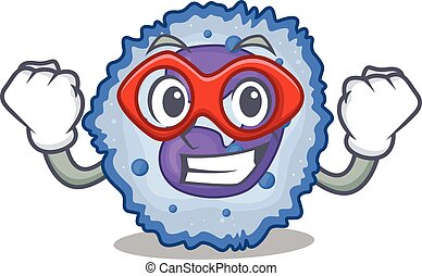 Smiley mascot of basophil cell dressed as a Super hero. ...