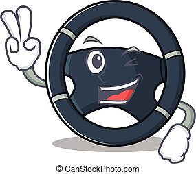 Smiley mascot of car steering cartoon Character with two fingers