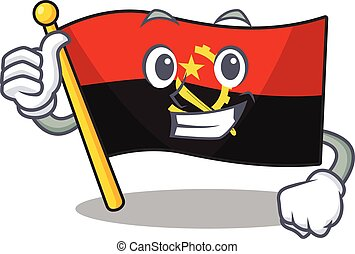 Smiley mascot of flag angola Scroll making Thumbs up gesture