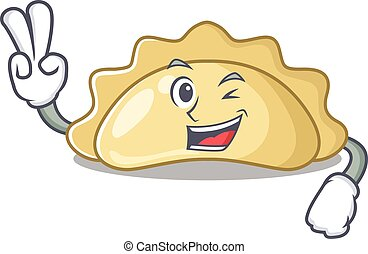 Smiley mascot of pierogi cartoon Character with two fingers. Vector illustration