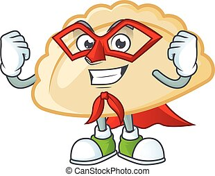 Smiley mascot of pierogi dressed as a Super hero. Vector illustration