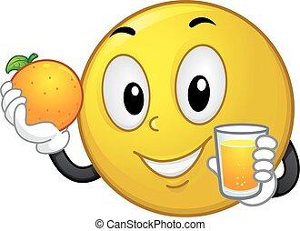 Smiley Mascot Orange Juice Illustration