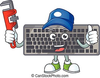 smiley, mascotte, style, image, clavier, plombier, noir