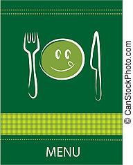 smiley, menu, ristorante, disegno