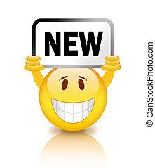 smiley, met, nieuw, plakkaat