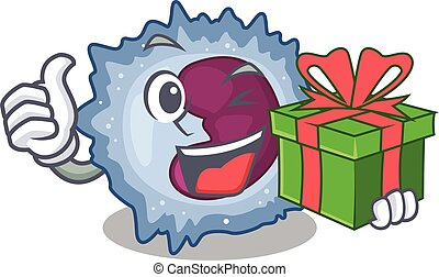 Smiley monocyte cell character with gift box. Vector ...