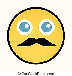 smiley, moustache, retro