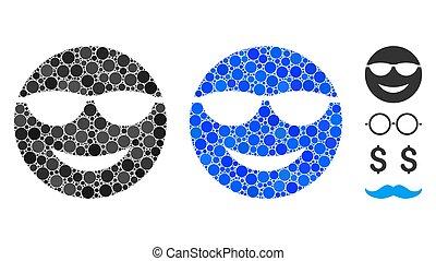 smiley, mozaika, ikona, sunglasses, kropkuje, okrągły