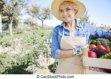 smiley, nő, noha, friss növényi