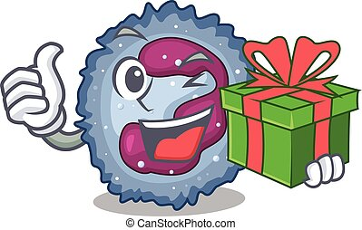 Smiley neutrophil cell character with gift box. Vector ...
