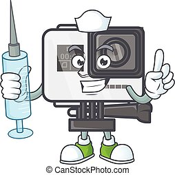 Smiley Nurse action camera cartoon character with a syringe