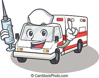 Smiley Nurse ambulance cartoon character with a syringe