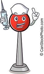 Smiley Nurse antenna cartoon character with a syringe
